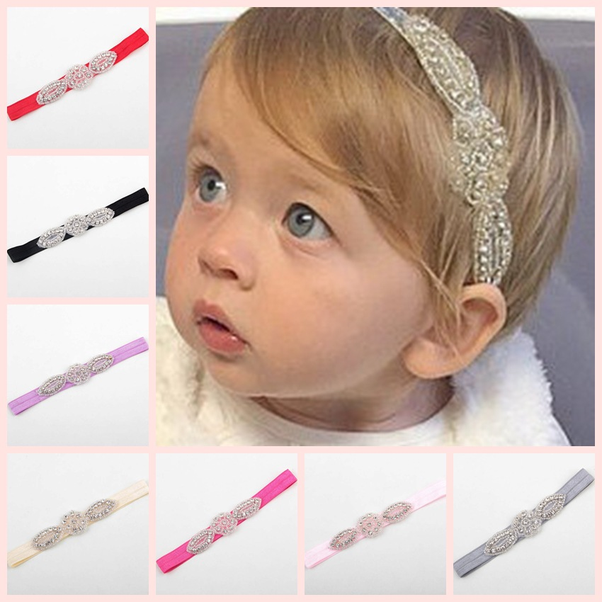 Yundfly Crystal Rhinestone Headband Elastic Baby Girls Head Accessories Children Hair Bands Party Headwear Photo Shoot