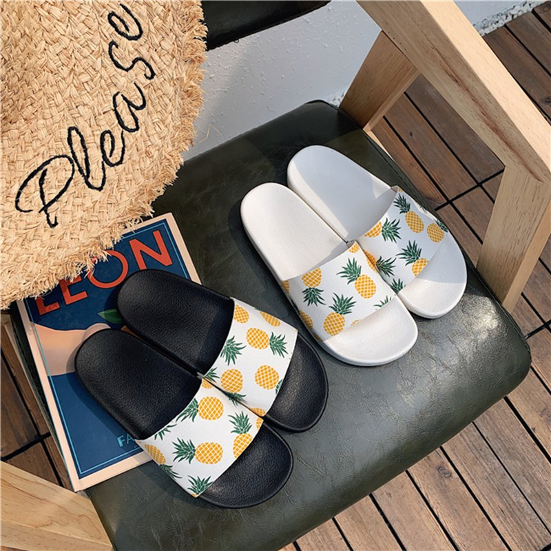 Ins Women Shoes Pineapple Fruit Slippers Kawaii Casual Anti-skid Sliders Outside Indoor Sandals Rubber Cute Students Flip Flops
