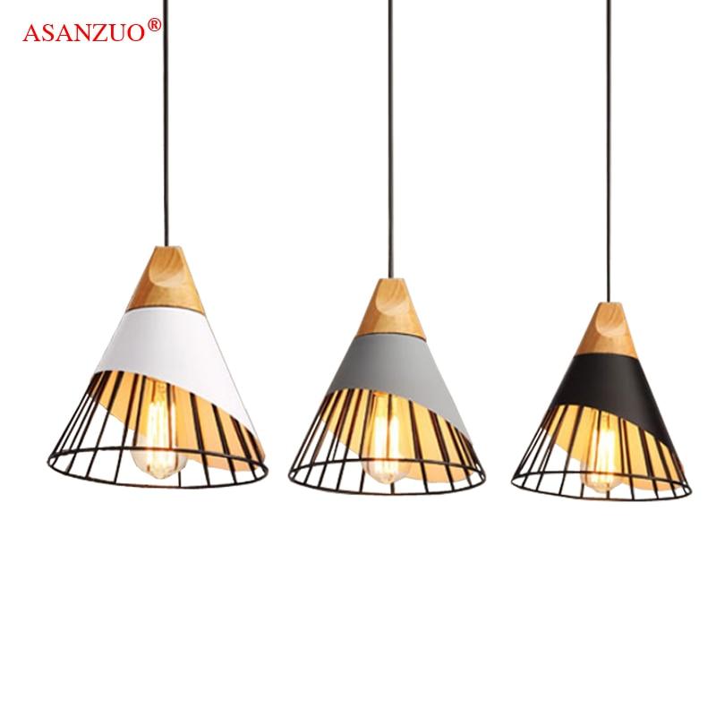 Wood Pendant Lights Modern Industrial Lamp Loft Nordic Hanging Lamp Kitchen Pendant Lamp Design Bedroom Dining Room Lights