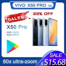 Oryginalny Vivo X50 Pro 8GB 128GB 60X ultra-zoom 48.0MP głównie telefon komórkowy NFC Snapdragon 765G 33W szybkie ładowanie 5G Smartphone