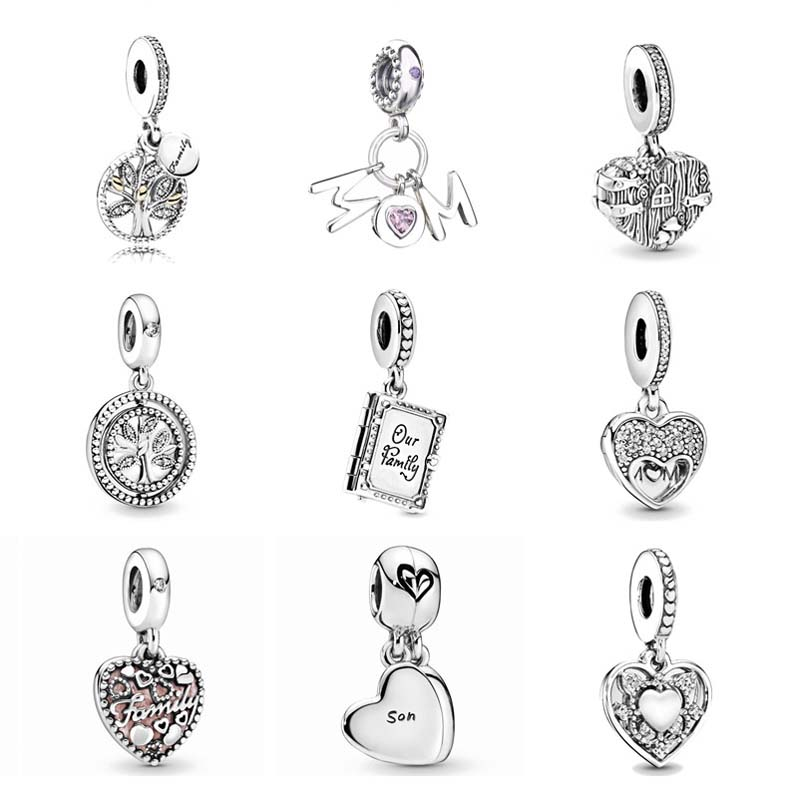 New mother son family tree mom pink charm dangle pendant Beads fit Original Pandora Charms Silver 925 Bracelet DIY Women Jewelry(China)