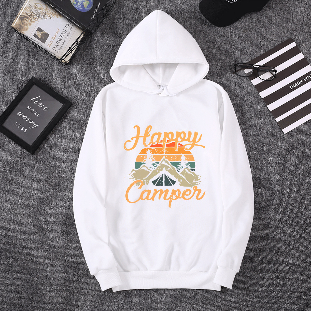 2020 Autumn Winter Hoodies Woman Long Sleeve Sweatshirt Female Hooded Hoody Fleece Happy Camper Woman Hoodies 2