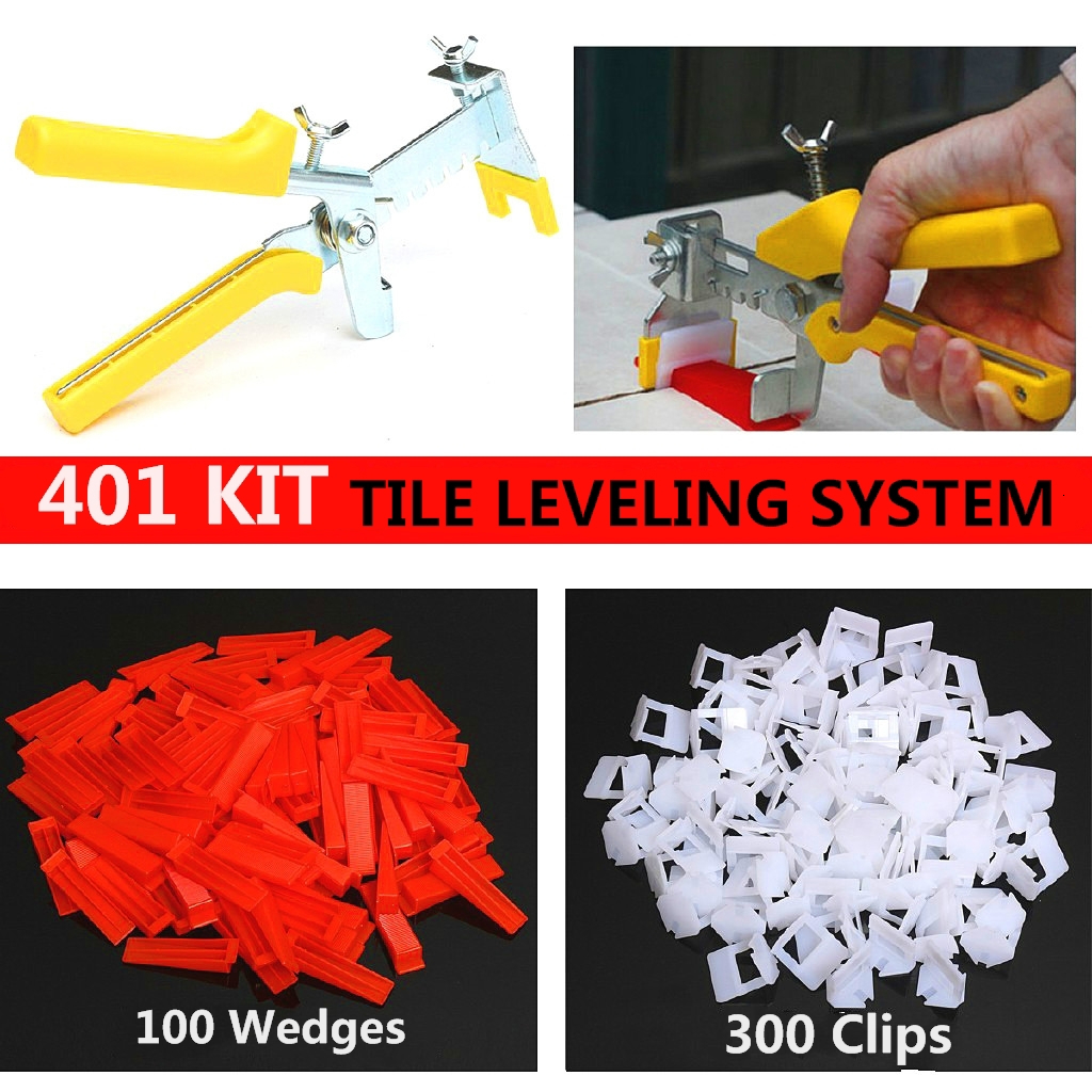 401pcs Tile Leveling System Spacer Tiling Flooring Tools 300 Pieces Clips + 100 Pcs Wedges + Pliers Spacer 3mm
