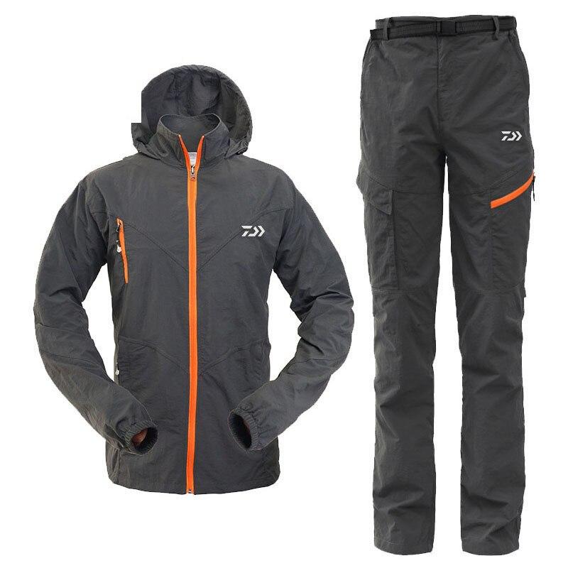 New Daiwa Men Fishing Clothes Coat Pants Summer Outdoors Sports Man Uv Light Ultrathin Breathable Clothing Set Free Gift