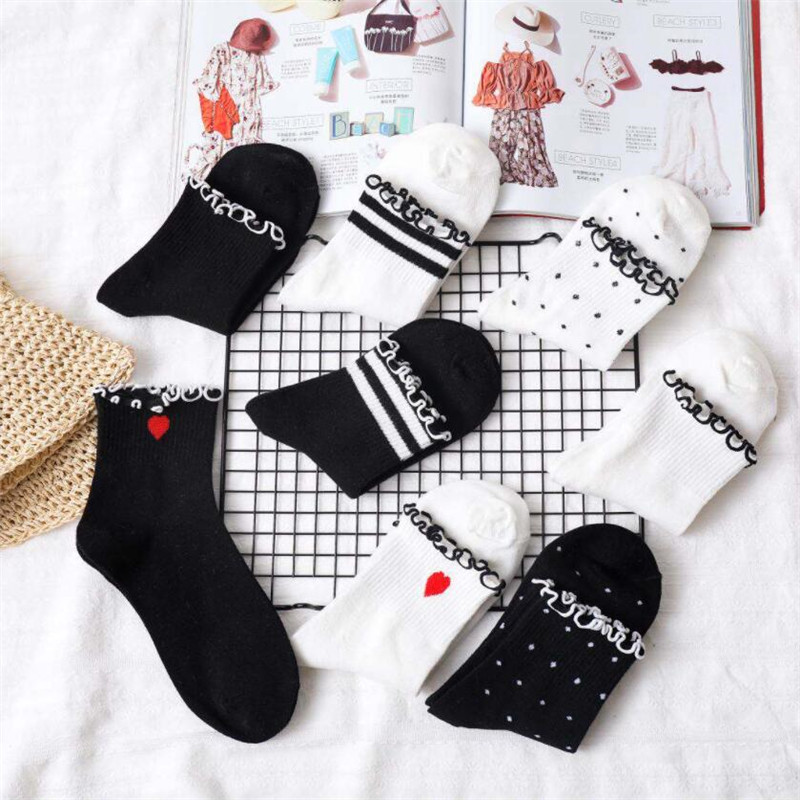 1 Pairs Women Funny Cute Socks Spring Summer And Autumn Frilly Cotton Sock Woman's And Lady Solid Color Art Cotton Sock