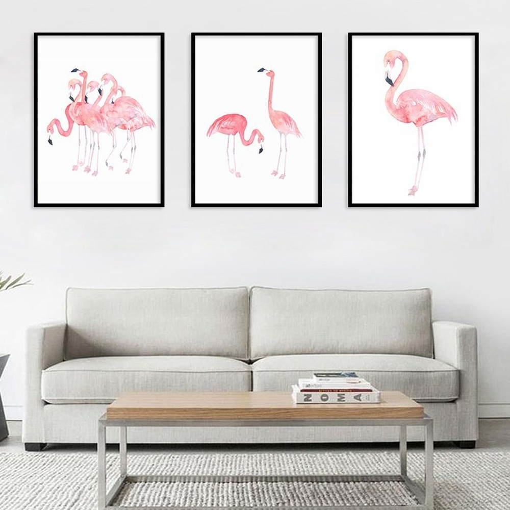 Nordic Style Pink Flamingo Home Decor Painting Passionate Flamingo Waterproof Canvas Poster Wall Art Canvas Painting Pictures