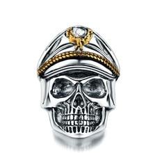 Ретро тайский серебряный панк череп полка студента открытие самообороны кольцо позолоченная Летающая шапка в форме орла