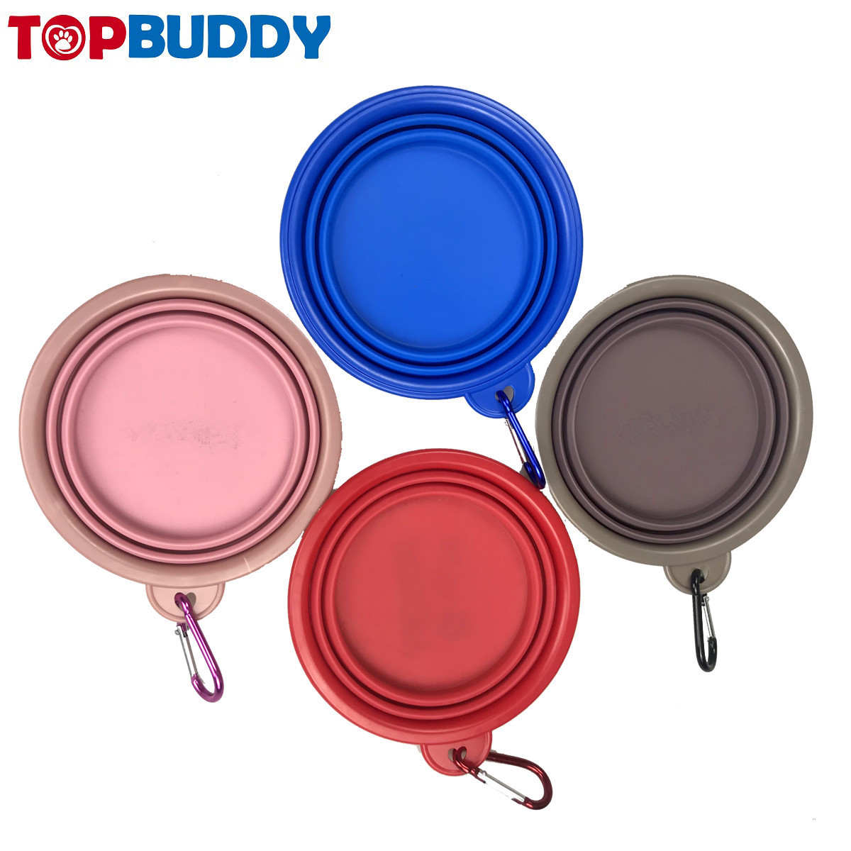 Pet Supplies Silica Gel TPE Foldable Pet Bowl Portable Dog Bowl Environmentally Friendly Non-toxic Carabiner Portable Zhe Die Wa