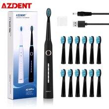 AZDENT cepillo de dientes eléctrico ultrasónico, AZ 9Pro, 5 modos, recargable por USB, limpieza profunda con cepillo, para blanquear los dientes, para chico y adulto