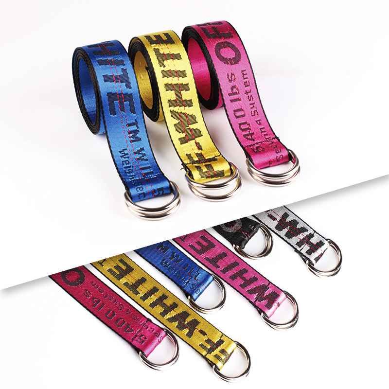 Off White Belt  Letter Printed Fashion Unisex  Ring Canvas Strap Female Long Belts Jeans Belts