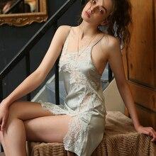 สดเซ็กซี่ชุดนอนผ้าไหมผู้หญิงด้านข้างลูกไม้โปร่งใสสายคล้องเสื้อและกางเกงชุดนอนชุดชั้นในสีชมพูสีเขียว