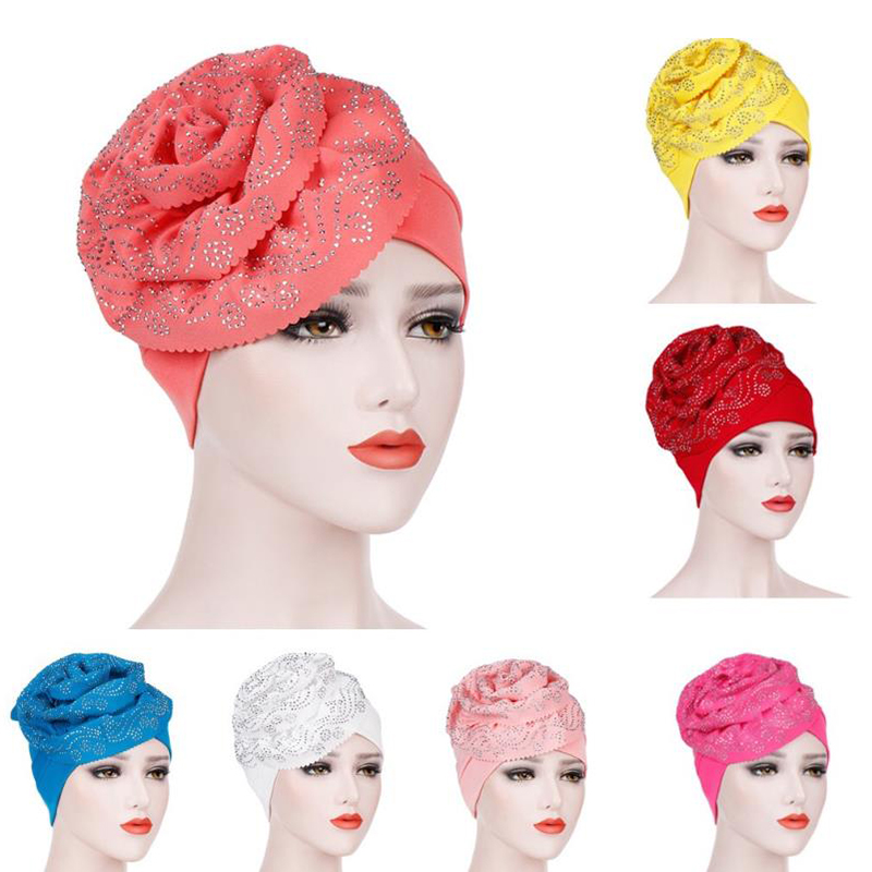 1PC Women Hijab Headwear Hair Loss Head Scarf Crystal Turban Cap Big Flower Muslim Cancer Chemo Hat Hair Accessories Hair Care