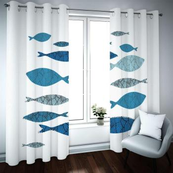 2020 Blackout custom 3D curtains Living room bedroom kitchen kids room Abstract fish modern art style blackout curtains