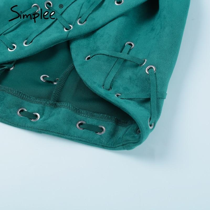 Simplee Deep v neck suede short dress Backless zipper asymmetric mini sexy dress women Christmas lace up sundress vestidos