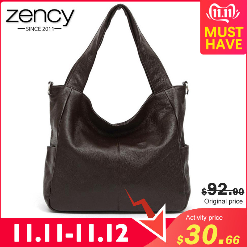 Zency 100% Natural Leather Elegant Women Shoulder Bag Classic Black Tote Hobos Daily Casual Shopping Bag Lady Crossbody Coffee