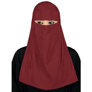 """Image 5 - Мусульманский хиджаб мусульманская вуаль паранджи никаб Nikab Для женщин однотонные Цвет шарф """"Амира"""" Головные уборы арабский молитва хиджаб платок крышка"""