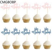10 pçs papel glitter 1st cupcake toppers feliz aniversário um bolo topper primeiro bolo decoração oh bebê menina menino festa suprimentos