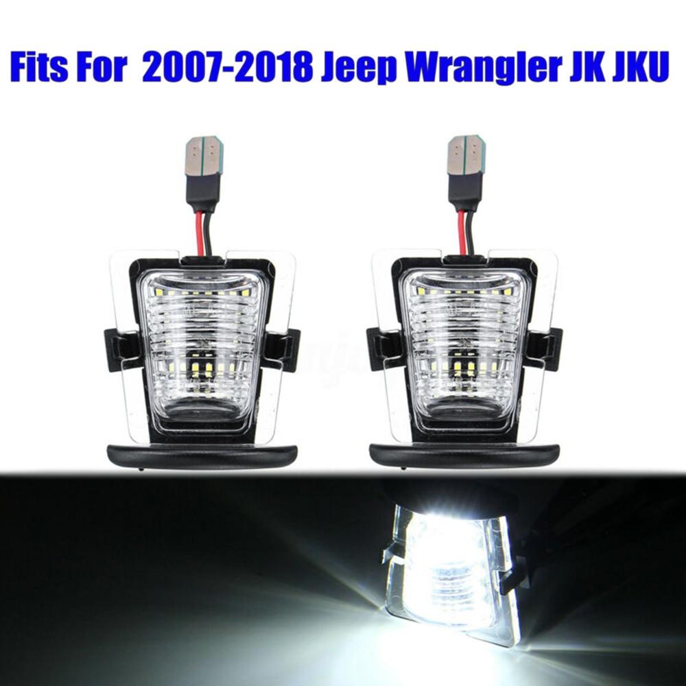 2pcs auto Rear Bumper License Plate Light Tag Lamp 6000K 3W For Jeep Wrangler JK JKU 2007-2018 SMD 18-LEDs License Plate Light