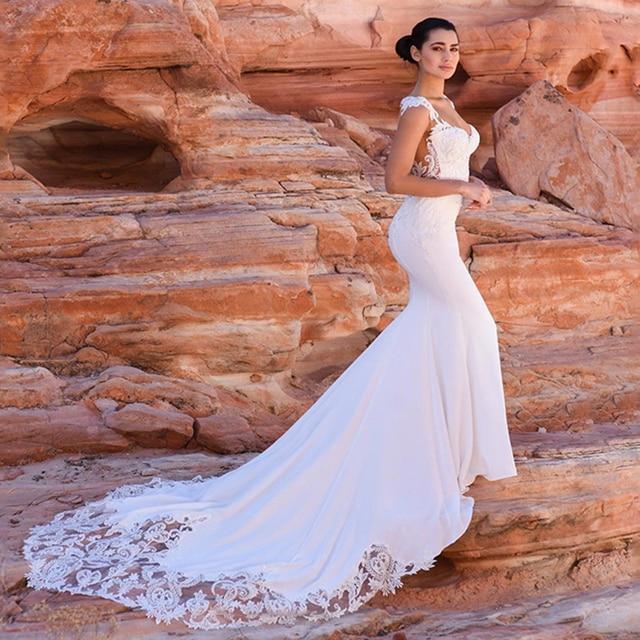 Satin Mermaid Wedding Dress Boho Sexy Sleeveless V Neck Beaded hijab Bridal Dress Wedding Gowns Women Long Train 1