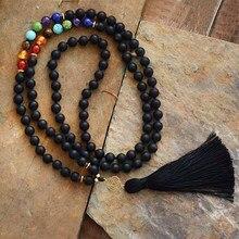 Novo chakras 108 contas mala fosco onyx 7 pedras de cor reiki charme borla colar grânulo atada meditação yoga colar dropship