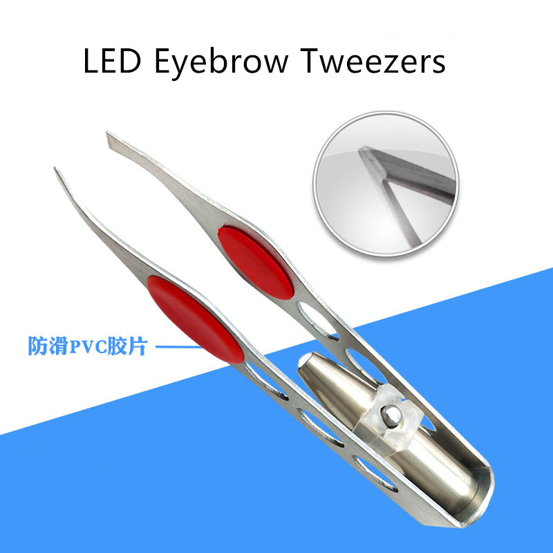 New Arrival Make Up Tools LED Light Eyelash Eyebrow Hair Removal Tweezer Face Hair Remover Stainless Steel Eyebrow Tweezers