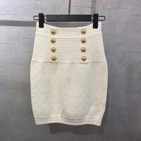 Women Mini Pencil Skirts Elastic High Waist Knitted Skirt Female Fashion Elegant Button Skirt