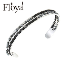 Floya Beads Cuff Bangles Knitting Stainless Steel Lovers Cross Bracelets Ethnic Style Femme Personality Exquisite Women Bangle