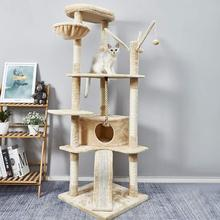 Cat Tree Large Size Cats Claw Climbing Frame Kitten Scratching Board 6 Levels Toy Niches with Slide Height 168cm C03