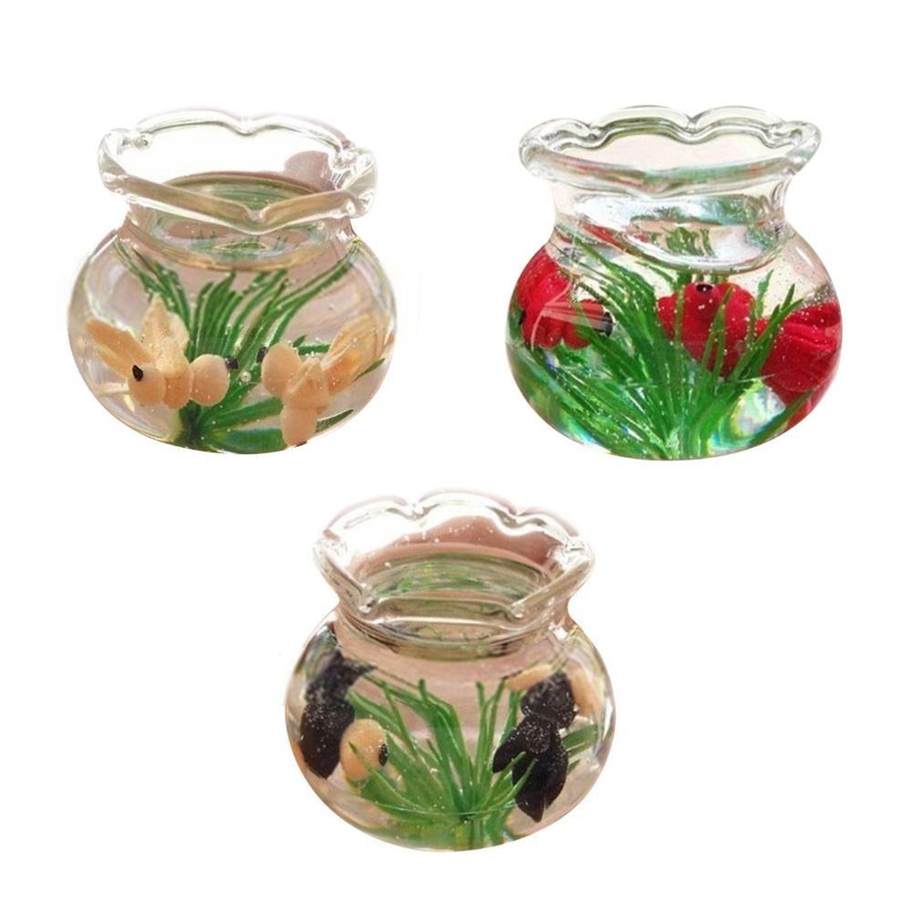1/12 Miniature Goldfish Fish Tank Doll House Living Room Decor Scene Accessory Miniature Furniture Home Decorative ornaments