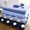 Pure Cotton Blue Sapphire dot shirt dress handmade DIY clothing brocade fabric cotton 100% kids for sewing Grid geometry printed