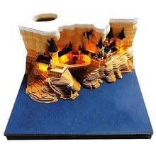 Bloco de notas 3d bonito engraçado da escola castelo com luzes diy nota de papel arte bloco de notas edifício omoshiroi harry pegajoso nota