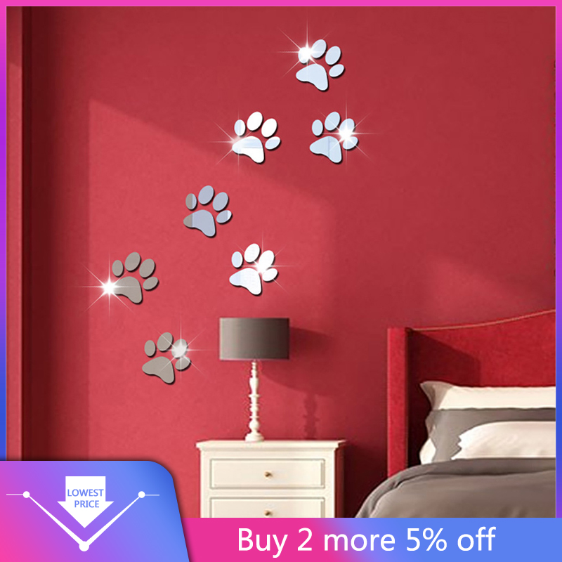 7 Uds perro huella decoración de Hogar para habitaciones 3D DIY pegatinas de pared de papel de calcomanías de pared decoración Hogar наклейки на стену