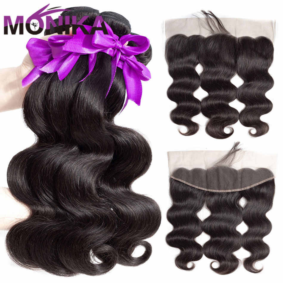 Monika Peruvian Hair Body Wave with Frontal 30 inch Bundles with Frontal NonRemy Hair Human Hair Weave Lace Frontal with Bundles