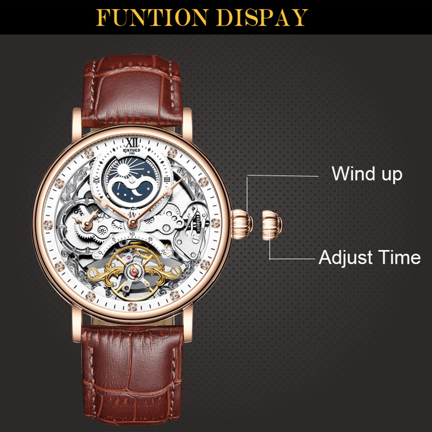 H8c937196a5394be99e4fb0c272c730fas KINYUED Skeleton Watches Mechanical Automatic Watch Men Tourbillon Sport Clock Casual Business Moon Wrist Watch Relojes Hombre