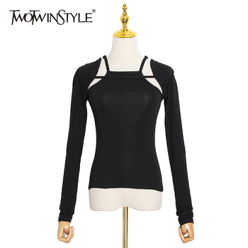 TWOTWINSTYLE Casual Hollow Out Pullovers For Women Square Collar Long Sleeve Slim Black Sweater Female 2020 Fall Fashion New twotwinstyle korean hollow out sweatshirt for women o neck long sleeve casual black sweatshirts female 2020 fall fashion new