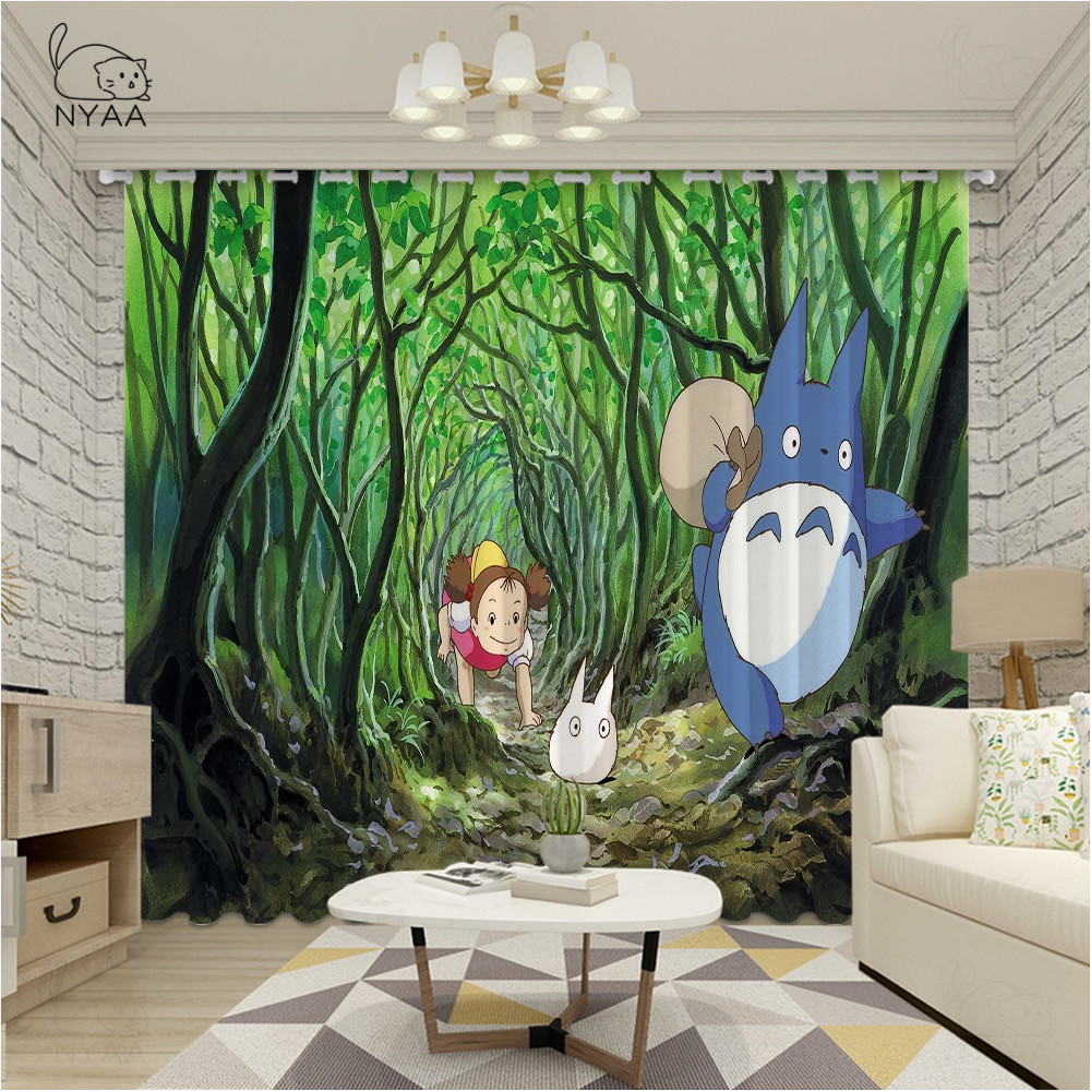 Cartoon Totoro Curtains Window Treatments Curtains For Kids Children Room Living Room Baby Boys Curtain Ultra-thin Micro Shading