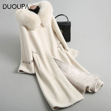 DUOUPA 2019  Autumn and Winter New Fashion Leather Grass Wool Velvet Fur Coat Fox Hooded Composite One Long Warm