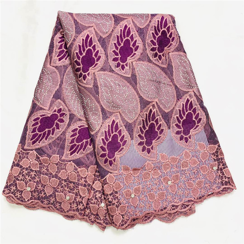 Swiss lace fabric 2020 heavy beaded embroidery African lace fabrics 100% cotton Swiss voile lace in Switzerland With stones K031