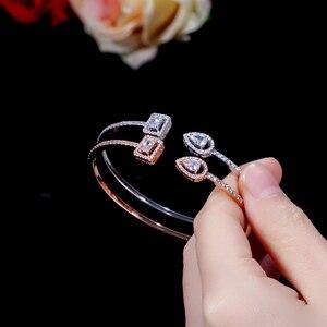 Image 4 - Erluer manguito pulseiras ajustáveis para mulheres jóias por atacado moda zircão charme cristal senhoras mão pulseira presente amante menina