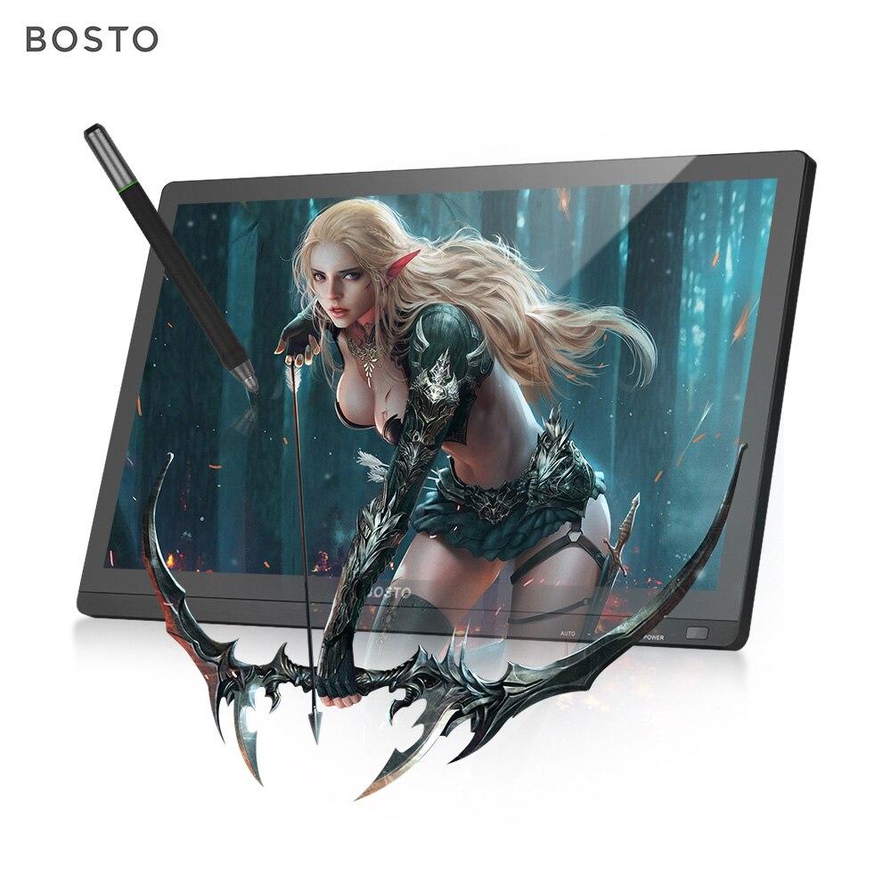 BOSTO 22HD dessin tablette mini graphique tablette moniteur 21.5 pouces IPS écran d'affichage 1920*1080 résolution avec support réglable