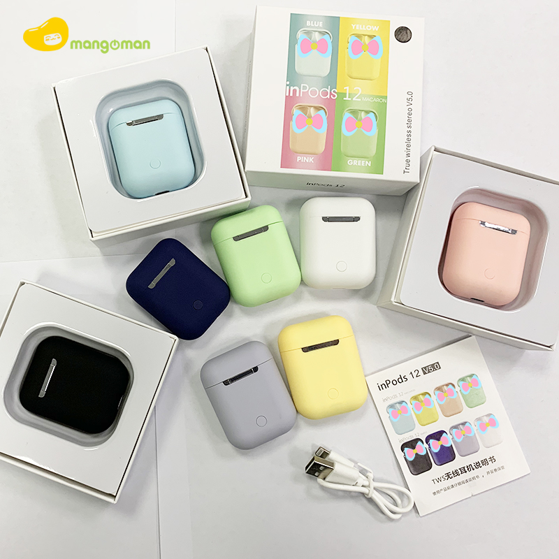 Mgoman New Arrival Macaron Inpods12 TWS Earphone Wireless Fast Charging Headphone With Box Earbuds Bluetooth 5.0 Headset PK I17s