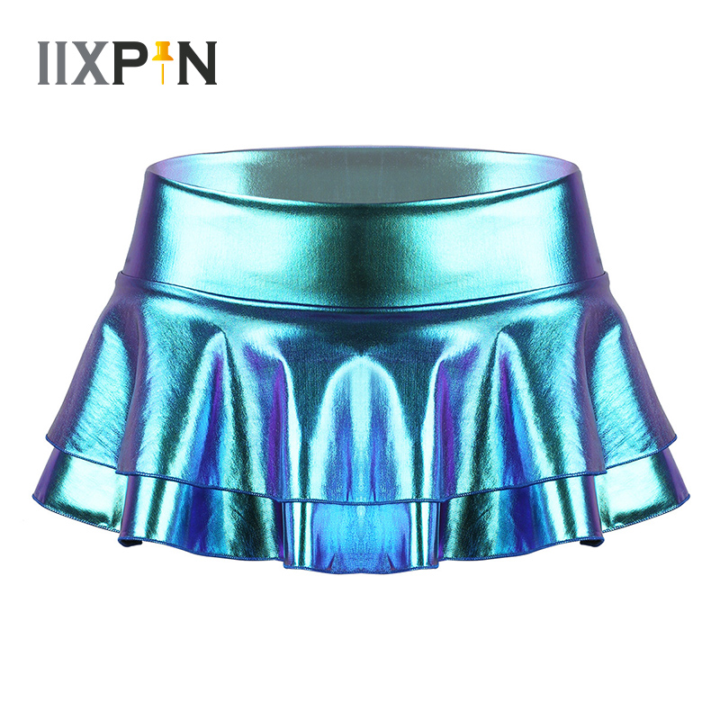 Women Pole Dance Costume Shiny Metallic Mini Skirt Low Rise Double Layered Ruffled Mini Skirt For Dance Raves Festivals Costumes