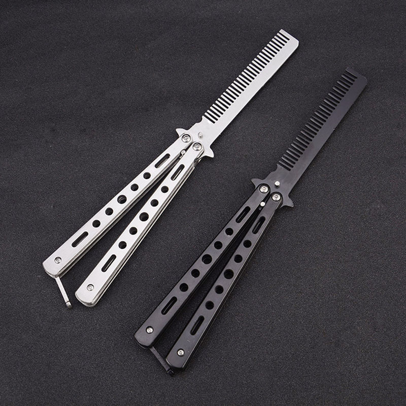 Salon Butterfly Knife Comb Hairbrush Stainless Steel Folding Practice Butterfly Knife Trainer Training Styling Tools Dull Blade