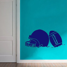 HDJWU Football And Helmet Wall Decals Sports Athlete Man Cave Boy Bedroom Removeable Wall Art Vinyl Wall Sticker Home Decor for boys living room wall decor sticker art fashion wall stickers WU32(China)