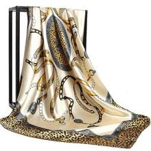 2020 90*90cm Summer Women Silk Foulard Scarves Square Scarf Ladies Luxury Brand beach Shawl Bandanna Large Hijab muffler female cheap wejet Adult Polyester Scarf Shawl Print Fashion 175cm
