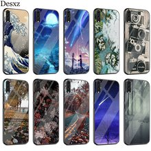 Kanagawa Big Wave Case Glass For Huawei P30 P10 P20 P Smart Mate 20 Pro Lite Y6 Y9 Honor 7A 8X 9 10 Cover(China)