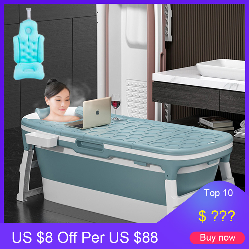 138CM Adult Folding Bathtub Baby Swimming Pool Children Bath Barrel Household Portable Tub Insulation Tub with Lid Cushion