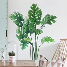 Background-Decal Mural Wall-Sticker Removable Tropical-Plant-Leaves Living-Room Easy-To-Us
