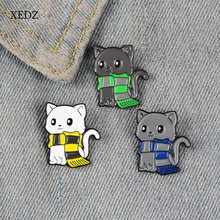 XEDZ Cute cartoon three kittens wearing scarf enamel pins jewelry boys and girls children fun animals denim clothes pendant gift