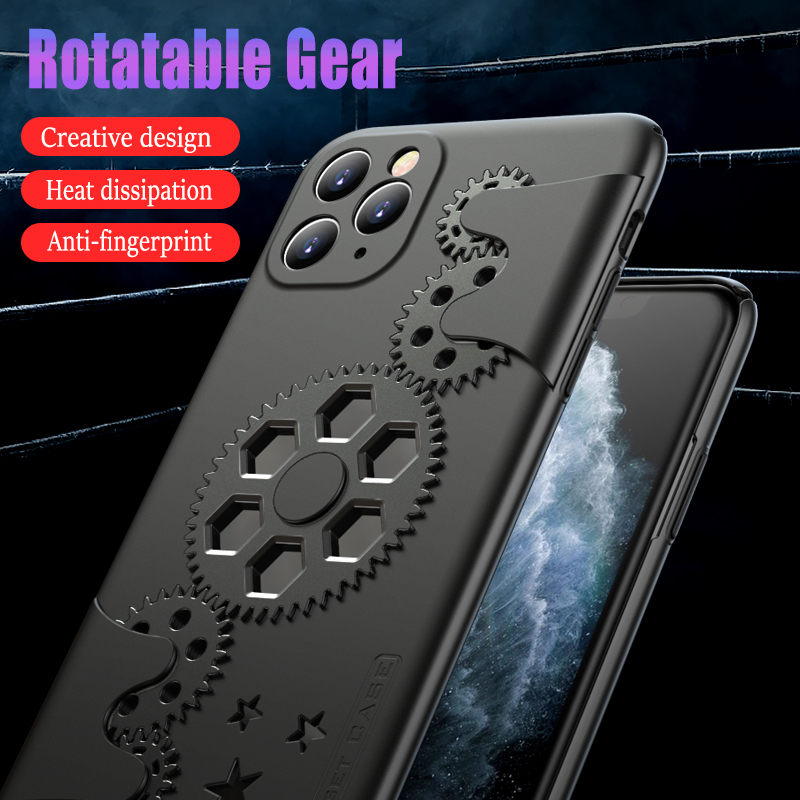 Cool Mecha Style Rotatable Gear Phone Case for IPhone 11 Promax XR for Huawei P30 Mate20 Honor 9XPro,cases with Heat Dissipation(China)